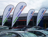 Forecourt Teardrop Flags - Includes drive on base