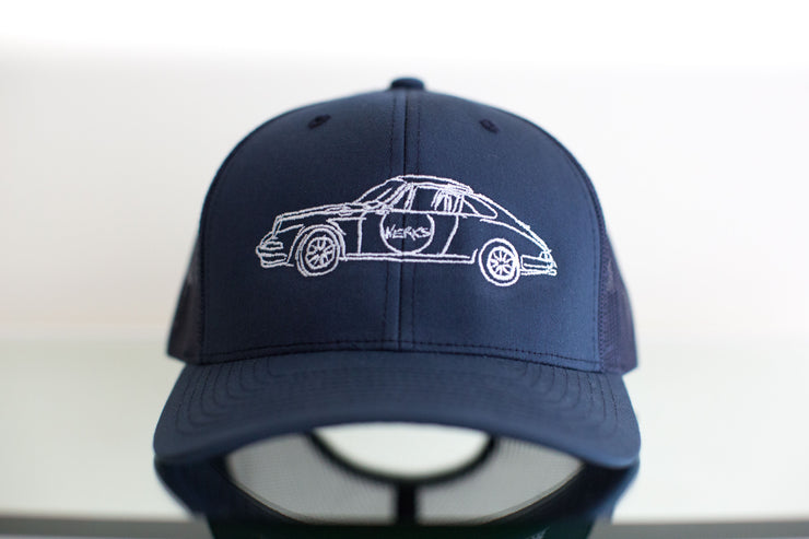 """Long Hood"" Trucker Hat - Blue"