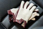 Stringback Driving Gloves - Burgundy With Natural String
