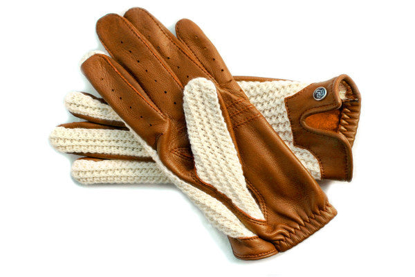 Stringback Driving Gloves - Cognac With Natural String