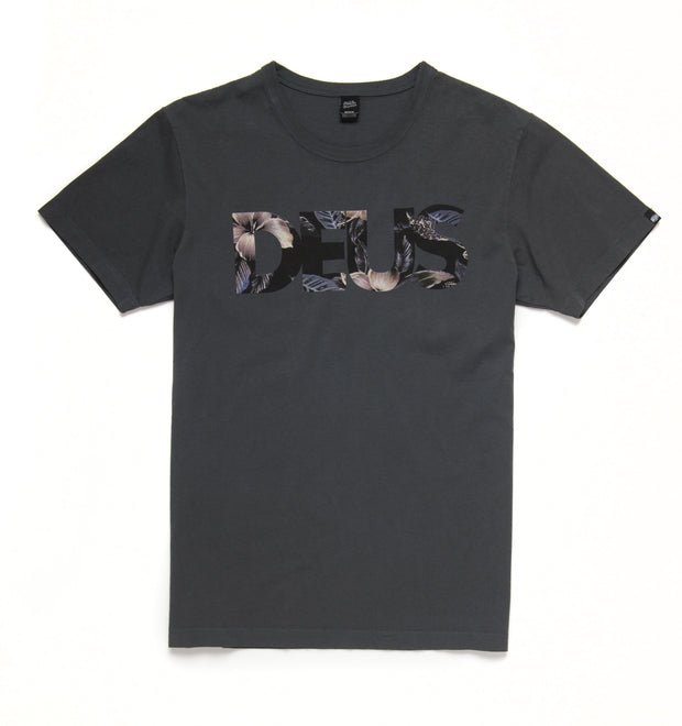 Deus Ex Machina Floral Caps Tee - Washed Black