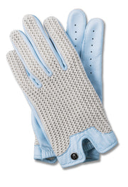 Stringback Driving Gloves - Sky Blue With Natural String