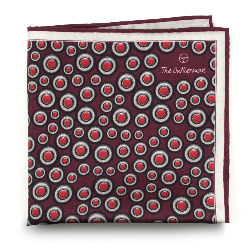 The Outlierman Pocket Square - The Signature Wheel - Bordeaux