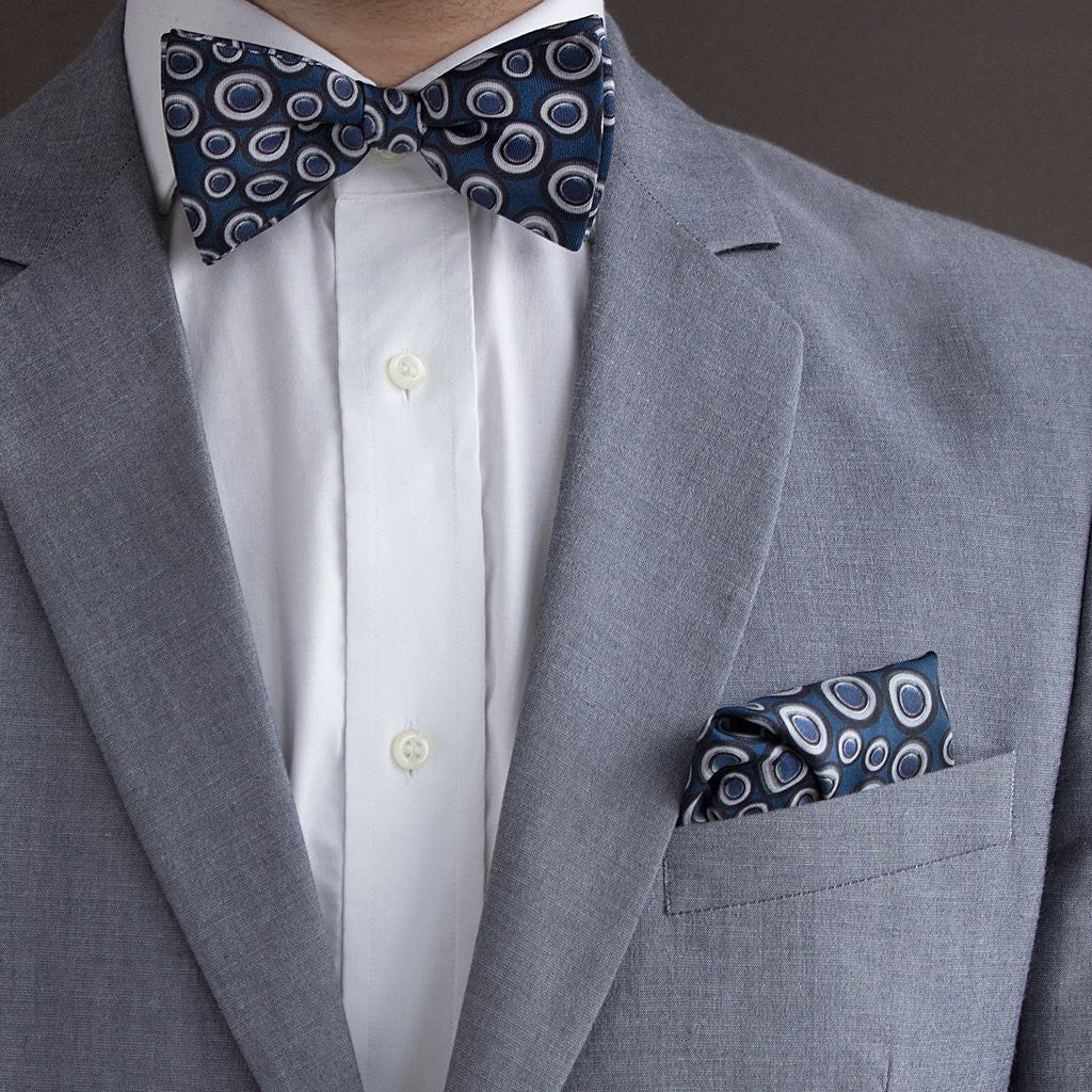 The Outlierman Pocket Square - The Signature Wheel - Blue