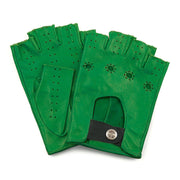 Green cut-off driving gloves