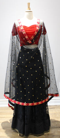 Midnight Black Lengha with Floral Dupatta
