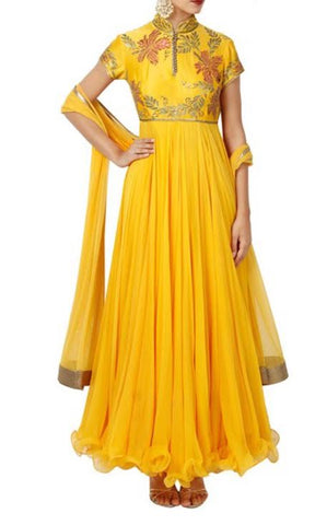 Yellow Chanderi Anarkali