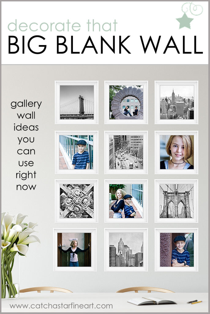 Wondering what to do with a blank wall? Want to create a Gallery Wall that WORKS? We've got tips to help you decorate your empty space, whether it's in your living room, bedroom or office -  along with a FREE ebook full of more ideas! #gallerywallideas #gallerywalllayout #blankwallideas #gallerywalllivingroom #minimalistgallerywall