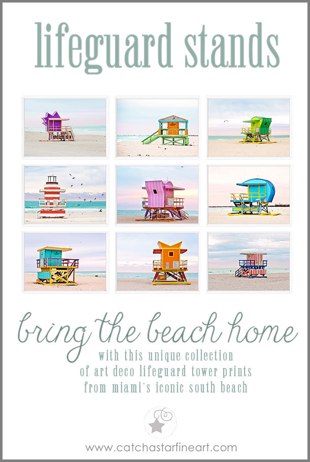 Set of 9 colorful Miami Beach lifeguard stand prints!  The iconic art deco lifeguard towers that line Ocean Drive in South Beach are bright, candy colored landmarks that beachgoers love. This collection of prints  will bring the personality of SoBe into your space. #lifeguard   #lifeguardstands #lifeguardtower #beachphotography #beachhut #artdeco   #southbeach #sobe #miami #walldecor #homedecor #miamibeach   #catchastarfineart #shopsmall