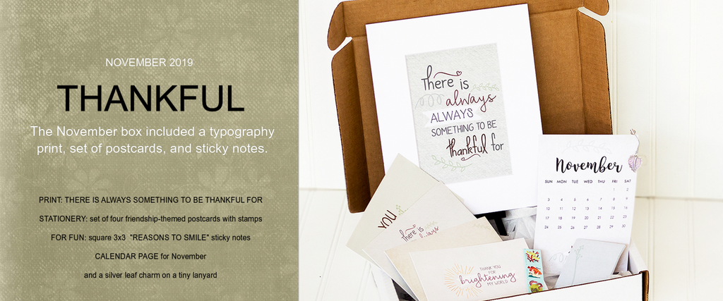 thankful subscription box typography art print friendship postcards with stamps sticky notes reasons to smile calendar page leaf charm