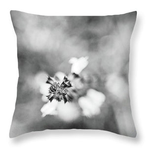 Abstract Bloom - Throw Pillow (black & white)