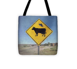 Alien Cow Sign - Tote Bag - Catch A Star Fine Art