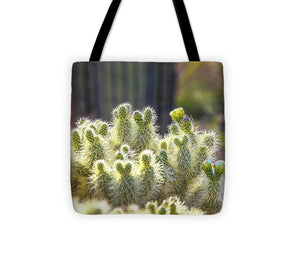 Backlit Flowering Cactus - Tote Bag