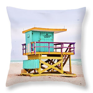 Blue & Yellow #2 Lifeguard Stand - Throw Pillow
