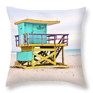 Blue & Yellow Lifeguard Tower #1 Throw Pillow - Catch A Star Fine Art