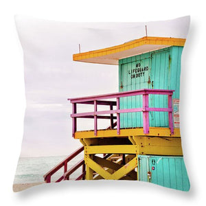 Blue & Yellow Lifeguard Tower #4 - Throw Pillow