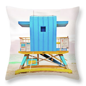 Blue Lifeguard Tower #2 - Throw Pillow
