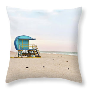 Blue Lifeguard Tower #4 - Throw Pillow