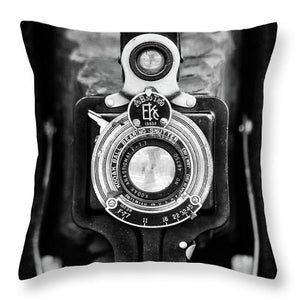 Brownie Junior Antique Box Camera BW - Throw Pillow