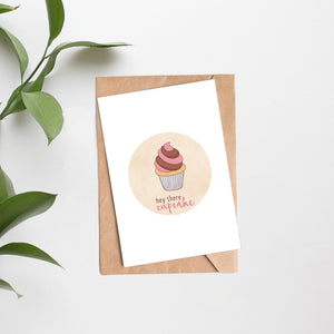 February 2020 - HEY THERE CUPCAKE folded card - Catch A Star Fine Art