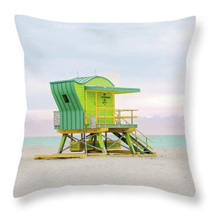 Green Art Deco Miami #6 - Throw Pillow