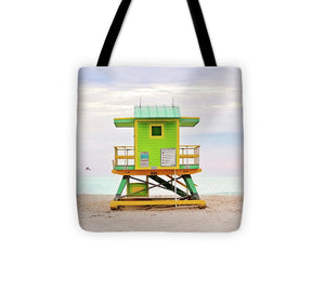 Green Lifeguard Tower #1 Tote Bag - Catch A Star Fine Art