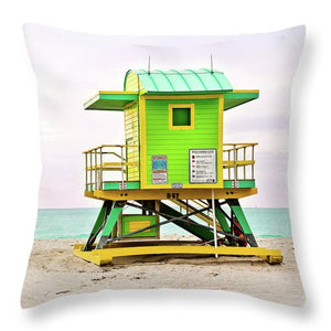 Green Lifeguard Tower #2 - Throw Pillow