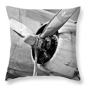 Historic Military Airplane Propeller - Throw Pillow (black & white)