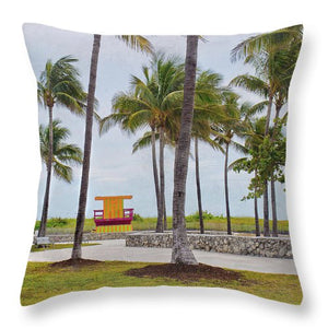 Lifeguard Stand and Palm Trees - Throw Pillow