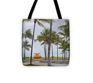 Lifeguard Stand and Palm Trees - Tote Bag