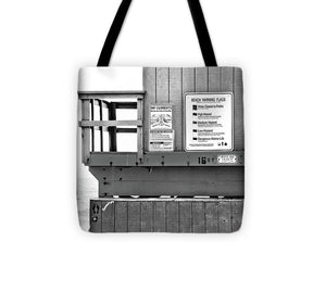 Lifeguard Stand Beach Warning - Tote Bag (black and white)