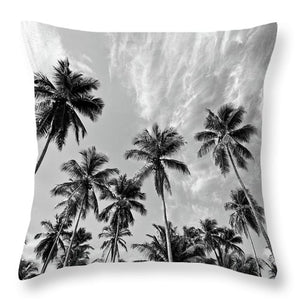 Magen's Bay Palms - Throw Pillow (black & white)