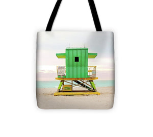 Miami Beach Lifeguard Stand Green #5 - Tote Bag