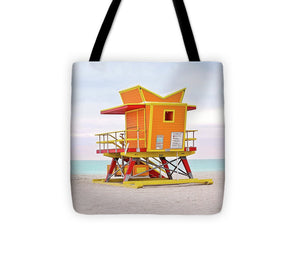 Miami Beach Lifeguard Orange #1 - Tote Bag