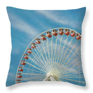 Navy Pier Ferris Wheel, Chicago Pillow - Catch A Star Fine Art