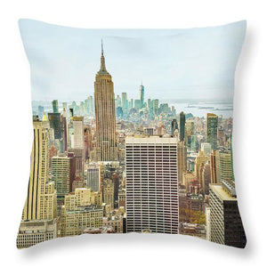 New York Skyline Aerial View - Throw Pillow
