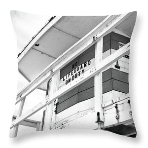 No Lifeguard On Duty - Throw Pillow (black & white)
