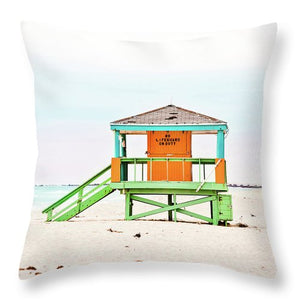 Orange and Green Lifeguard Hut #2 - Throw Pillow