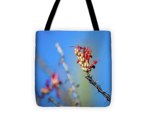 Red Ocatillo Cactus Bloom  - Tote Bag