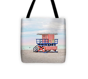 Red White and Blue #2 Miami Beach Lifeguard Tower - Tote Bag