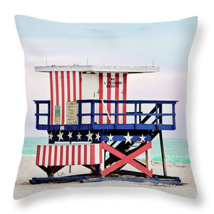 Red White and Blue Lifeguard Stand #1 - Throw Pillow