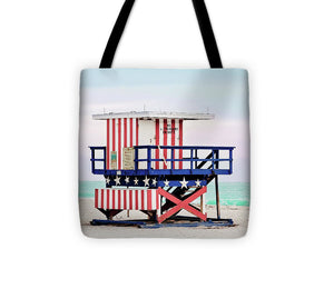 Red White and Blue Lifeguard Stand #1 - Tote Bag