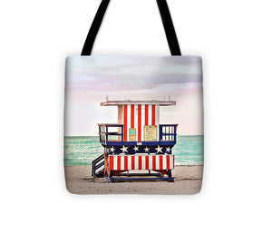 Stars & Stripes Red White & Blue #4 Lifeguard Tower - Tote Bag