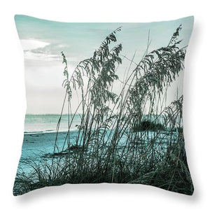 Turquoise Beach and Sea Oats #2 - Throw Pillow