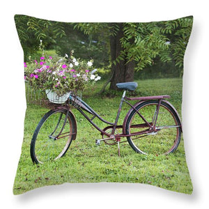 Vintage Bicycle With Flowers - Throw Pillow