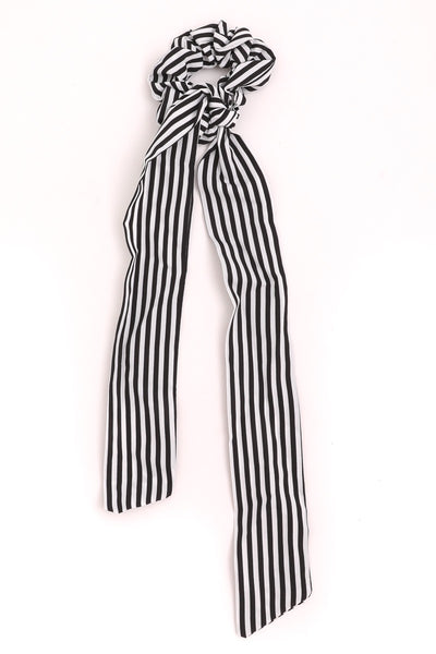 Black and White Striped Long Scrunchie