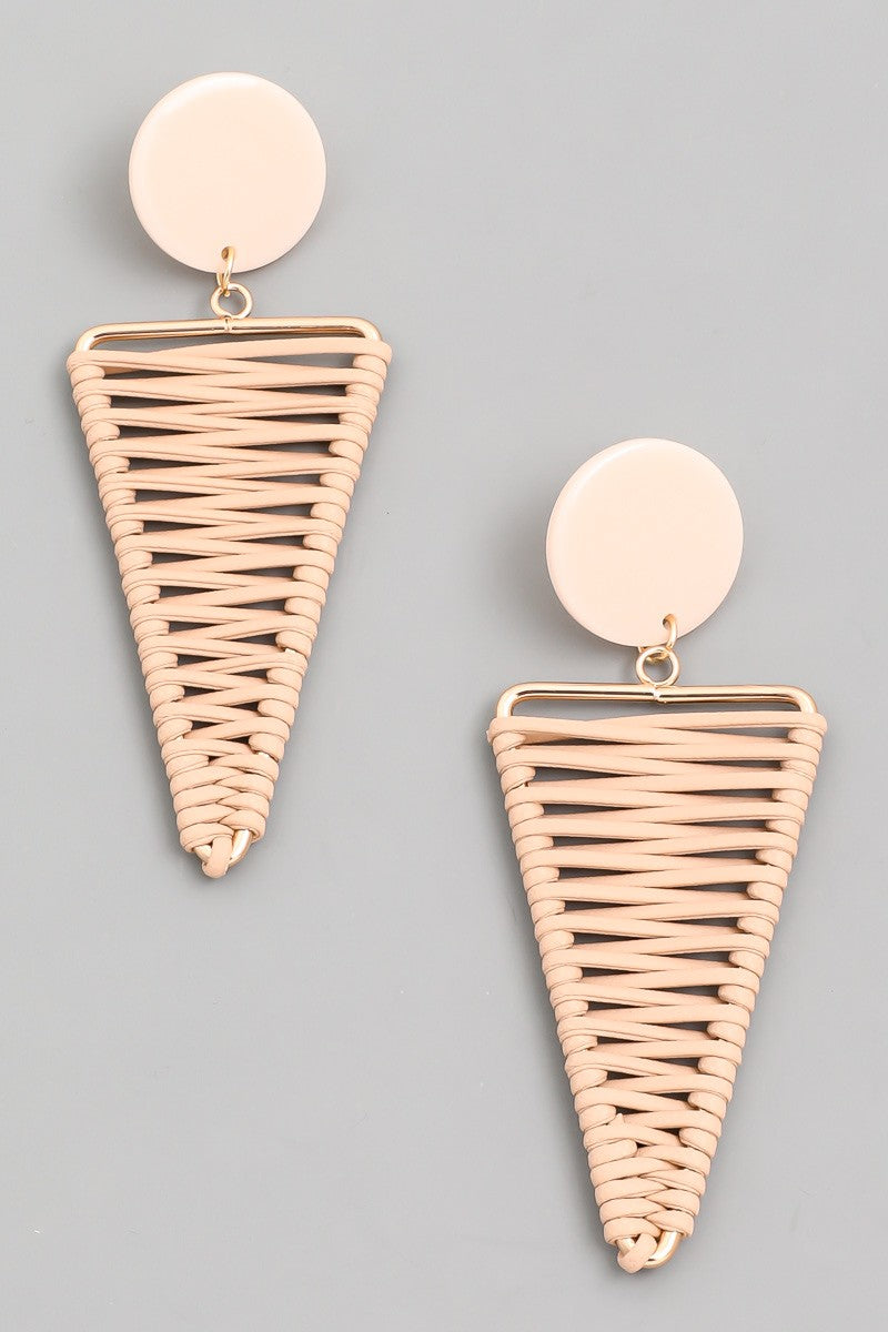 Wrapped Triangle Earrings, Blush