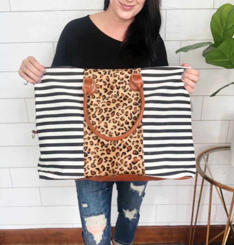 Striped Leopard Weekender Bag
