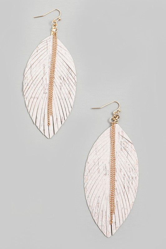 White Leaf Fringe Earrings
