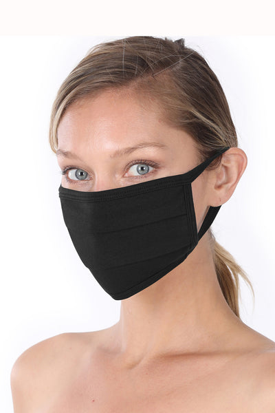 Adult Mask, Pleated Black